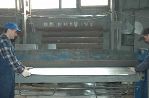 Заготовка деталей водосточных труб